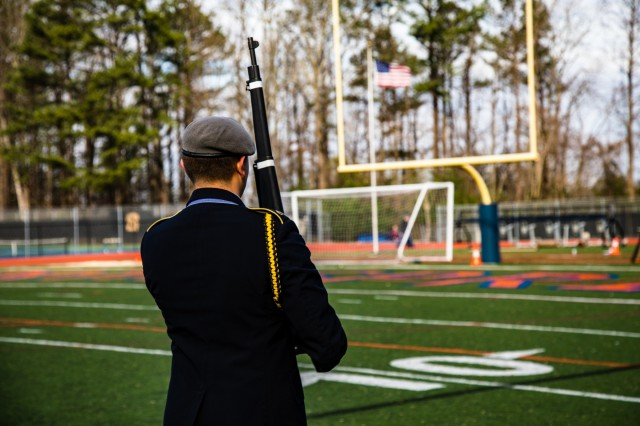 U.S. Army Soldiers from the 335th Signal Command (Theater), and Georgia Recruiting Battalion, U.S. Army Recruiting Command served as judges and mentors for  Georgia area Junior Reserve Officer Training Corps (JROTC) students from 13 high schools at the North Springs Charter High School Invitational Drill Meet held in Atlanta, Feb. 24, 2018. (U.S. Army Reserve photo by Capt. David Gasperson)