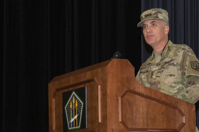 Lt. Gen. Paul M. Nakasone, commander of U.S. Army Cyber Command, speaks at the assumption of responsibility ceremony in which Command Sgt. Maj. Sheryl D. Lyon assumed her new duties as ARCYBER's command sergeant major, at Fort Belvoir, Va., March 12, 2018.