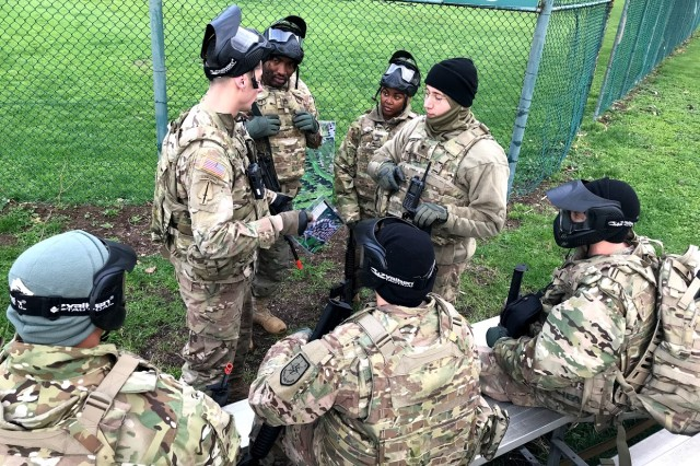 Soldiers receive an Operations Order during a week-long Army Warrior Tasks training event conducted by 2nd NATO Signal Battalion in Naples, Italy, Feb. 19-23. (photo by Staff Sgt. Louis Esmeralda, DCM A, 2nd NATO Sig. Bn.)