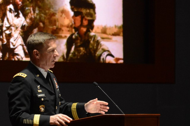 "Gen. James C. McConville, vice chief of staff of the Army, speaks at the 10th annual U.S. Army Women's Summit, themed ""Army Women: Lead, Network, Grow,"" March 12, 2018, on Capitol Hill, in celebration of Women's History Month."