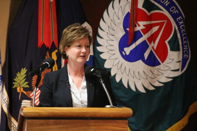 Army Materiel Command's Executive Deputy to the Commanding General Lisha Adams speaks about Army priorities as the keynote speaker at the Team Redstone Advance Planning Briefings to Industry hosted by the Aviation and Missile Command at Redstone Arsenal March 6. More than 600 defense contractors registered for the two-day conference.