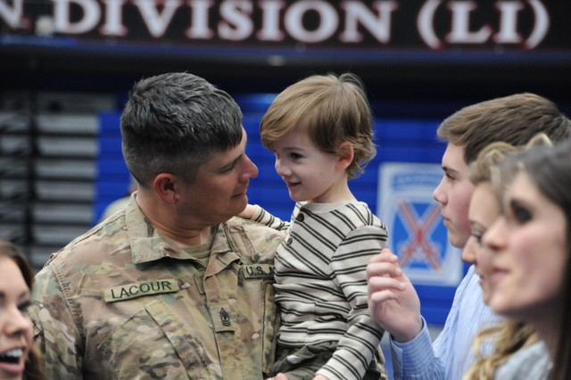 Nearly 100 Soldiers from 1st Battalion, 87th Infantry Regiment, 1st Brigade Combat Team, 10th Mountain Division (LI), reunited with family and friends March 12 upon returning to Fort Drum from a six-month deployment to Africa.  (U.S. Army Photo by Mike Strasser, Fort Drum Garrison Public Affairs)
