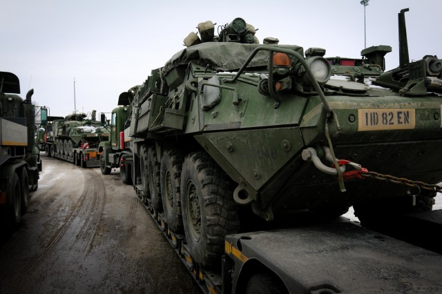 United States Army reconnaissance vehicles belonging to the the 82nd Brigade Engineer Battalion, 2nd Armored Brigade Combat Team, 1st Infantry Division, are transported via flatbed truck in Tapa, Estonia on March 8, 2018 as part of a rapid response readiness exercise in support of Atlantic Resolve. (U.S. Army photo by Spc. Hubert D. Delany III/22nd Mobile Public Affairs Detachment)