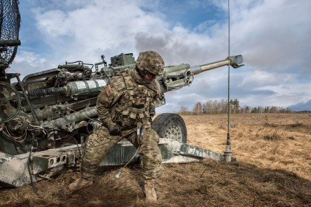 Gunners from 2nd Cavalry Regiment carry out a mission on the M777 howitzer during Exercise Dynamic Front 18. The exercise includes approximately 3,700 participants from 26 nations at the U.S. Army's Grafenwoehr Training Area, Germany, Feb. 23 to March 10, 2018. This is an annual exercise  led by U.S. Army Europe focused on the interoperability with joint service and allied nation artillery and fire support in a multinational environment.