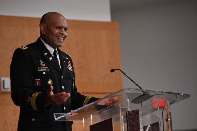 Lt. Gen. Leslie C. Smith gives remarks during his promotion ceremony Feb. 9 at Fort McNair in Washington. Smith was promoted two days after being sworn in as the Army's 66th inspector general.