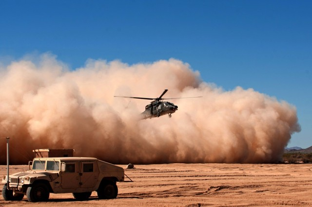 One of the most hazardous situations for aircraft pilots is degraded visual environments, which include darkness, snow, rain, blowing sand, dust, fog, smoke and clouds. The S&T community, industry, academia and the other services are developing capabilities like the Degraded Visual Environment Mitigation Program, which will allow aviators to maintain an asymmetric advantage on the battlefield in all weather conditions, including brownouts.