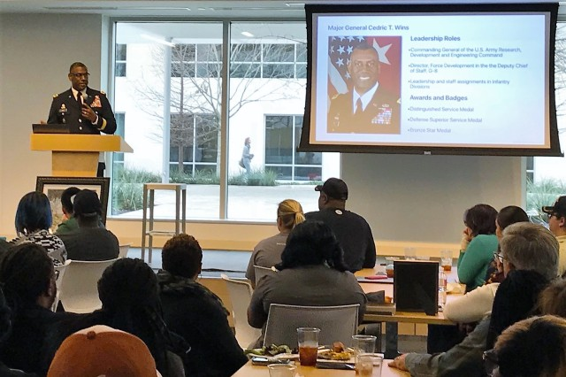 Maj. Gen. Cedric T. Wins speaks to employees at the Apple Inc. campus in Austin, Texas, on Feb. 22 about his experience in the Army, as well as African-American military leaders who inspired him. As part of African-American History Month, Wins gave an overview of RDECOM and the importance of diversity in the workforce.