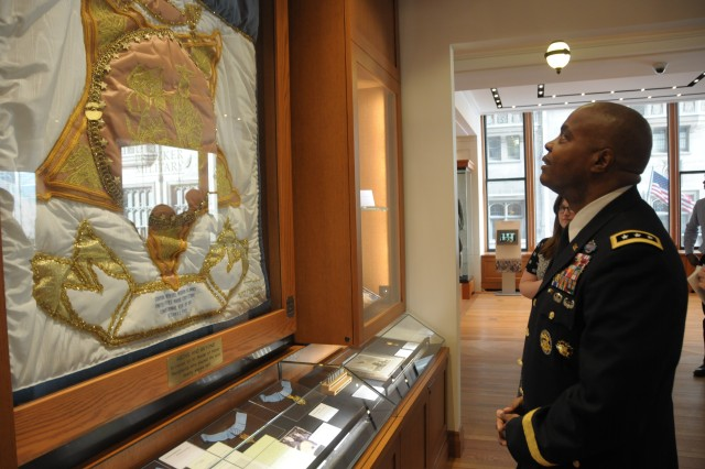 First Army Commanding General Lt. Gen. Stephen M. Twitty tours a Medal of Honor exhibit inside the Pritzker Museum & Library on Feb. 27, downtown Chicago.