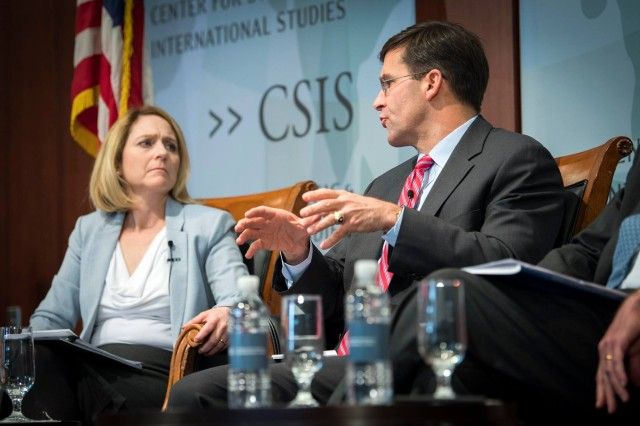 Secretary of the Army Mark T. Esper speaks with Kathleen H. Hicks of the Center for Strategic and International Studies in Washington, D.C., March 12, 2018.  Esper, along with Secretary of the Navy Richard Spencer and Secretary of the Air Force Heather Wilson, met for a public discussion on modernization, military budgets, and the current state of military operations.