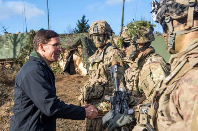 Secretary of the Army Dr. Mark T. Esper meets with U.S. Army Soldiers in the field. Esper spoke at the Center for Strategic and International Studies in Washington, D.C., March 12, 2018, for a public discussion on modernization, military budgets, and the current state of military operations.