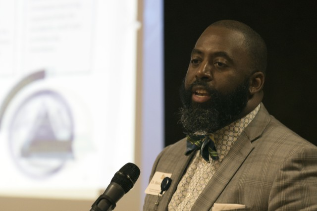 Baron Davis, superintendent for the Richland Two School District speaks about what being 'premier' means to him during the first education summit held on Fort Jackson between post officials and educators from across the Columbia, S.C. area.