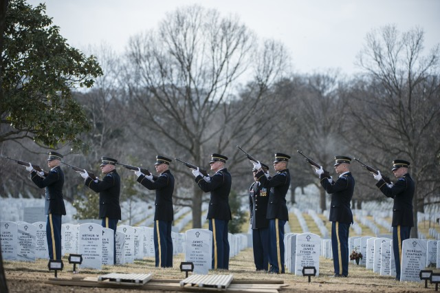 The U.S. Army Honor Guard firing party fires 3 folleys during the funeral of U.S. Army Sgt. 1st Class Mihail Golin in Section 60 of Arlington National Cemetery, Arlington, Virginia, Jan. 22, 2018. Golin, an 18B Special Forces Weapons Sergeant assigned to 10th Special Forces Group (Airborne) died Jan. 1, 2018, as a result of wounds sustained while engaged in combat operations in Nangarhar Province, Afghanistan. Arlington National Cemetery will reach full capacity by the early 2040's if changes aren't implemented soon, according to the Army National Military Cemeteries executive director.
