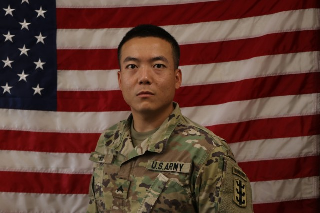 Cpl. Lie Wu, a wheeled vehicle mechanic assigned to the 84th Engineer Battalion Forward Support Company, 130th Engineer Brigade, 8th Theater Sustainment Command earned the coveted Ranger tab in January 2018. Ranger school is the Army's premier combat leadership and small unit tactics course, with only 36% of those who start the course obtaining the tab. Originally from Xi'an, China, Cpl. Wu is an alumni of Troy University in Montomery Alabama and became a U.S. citizen as a Soldier in the U.S Army in 2015. (U.S. Army Photo by 1st Lt. Joseph B. Wyatt, 8th Theater Sustainment Command)