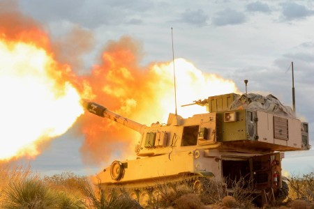 An M109 Paladin gun crew with 1st Field Artillery Regiment at Fort Bliss, Texas, fires into the mountains of Oro Grande Range Complex, N.M., Feb. 14, 2018.