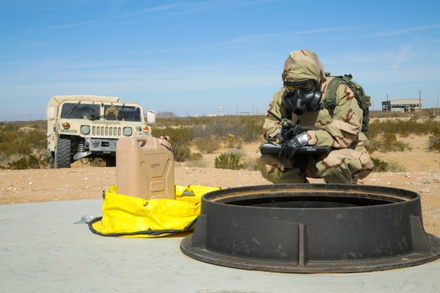 A United States Soldier, assigned to the 48th Chemical Brigade, gathers readings during the 48th Chemical Brigade Chemical Response Team (CRT) Validation Exercise at Fort Bliss, Texas, Feb. 13, 2018. The validation exercise measures CRTs ability to effectively execute their tasks through realistic training. (U.S. Army photo by Sgt. Quince Lanford)