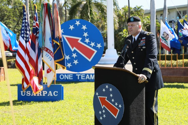 Brig. Gen. Peter Andrysiak, U.S. Army Pacific chief of staff, speaks to Soldiers, family and friends during a Celebration of Service ceremony Mar. 7, 2018 at Historic Palm Circle on Fort Shafter. During the ceremony, Soldiers are honored for exemplary service to the nation.