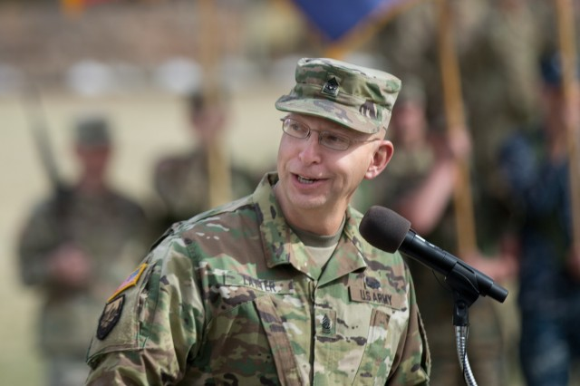 Command Sgt. Maj. Thomas J. Latter, the outgoing Command Sergeant Major for USAICoE and Fort Huachuca, makes remarks during the Change of Responsibility Ceremony held at Brown Parade Field March 16. (Photo by Staff Sgt. Al Robinson)