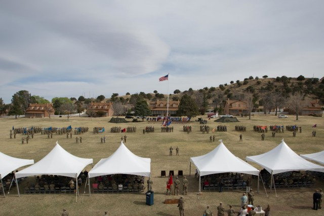 Soldiers from units across the U.S. Army Center of Excellence and Fort Huachuca participate in a Change of Responsibility ceremony held at Brown Parade Field on March 16. (Photo by Staff Sgt. Al Robinson)
