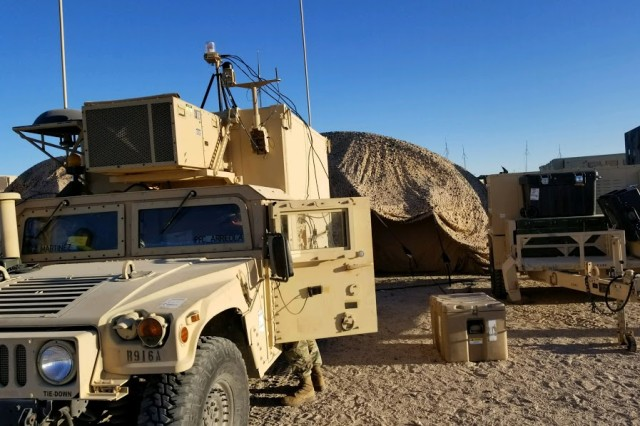 Soldiers with the 303rd MI Battalion, 504th Military Intelligence Brigade used the Tactical Ground Station vehicle to augment the regimental intelligence section for the 3rd Cavalry Regiment at NTC during Decisive Action Rotation 18-04.