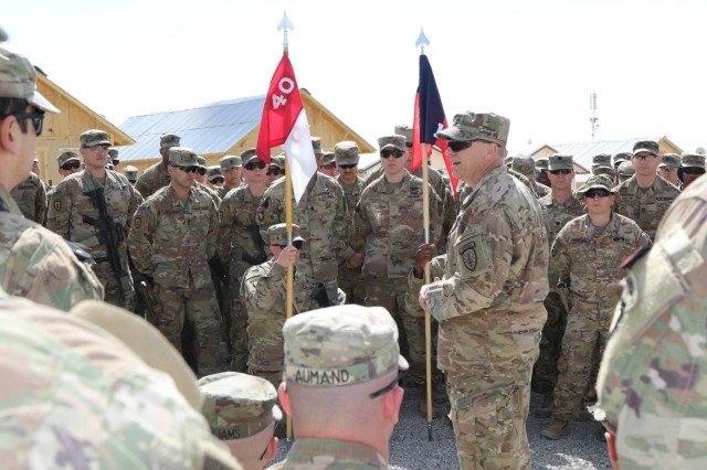 1st Security Force Assistance Brigade Command Sergeant Major, Cmd. Sgt. Maj. Christopher Gunn, addresses Soldiers assigned to Task Force Southeast following the 1st SFAB's uncasing ceremony on Advisor Platform Lightning, March 15, 2018. Gunn thanked the Soldiers gathered together for welcoming 1st SFAB to the TF Southeast advising team. The 1st SFAB and its six battalions uncased their colors across Afghanistan, symbolically beginning their mission to train, advise and assist the Afghan National Defense Security Forces.