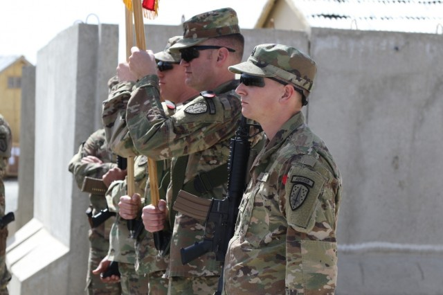 The 1st Security Force Assistance Brigade color guard stands at attention following the unit's uncasing ceremony on Advisor Platform Lightning, March 15, 2018. The 1st SFAB and its six battalions uncased their colors across Afghanistan, symbolically beginning their mission to train, advise and assist the Afghan National Defense Security Forces.
