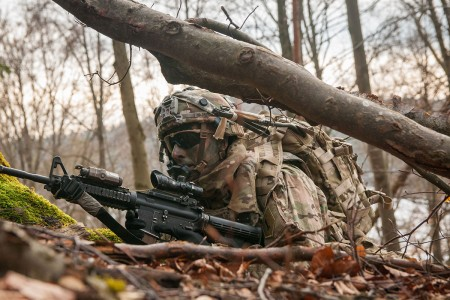 A Soldier assigned to the 2nd Armored Brigade Combat Team, 1st Infantry Division, conducts security watch, Jan. 25, 2018, at Hohenfels Training Area, Germany.
