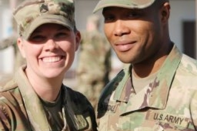 Grafenwoehr, Germany (Feb. 16, 2017) - Staff Sgt. Brooke Barksdale poses with her husband Staff Sgt. Jason Barksdale, both instruct at the 7th Army Noncommissioned Officer Academy. Staff Sgt. Brooke Barksdale was the first Senior Army Instructor Badge recipient in U.S. Army Europe.