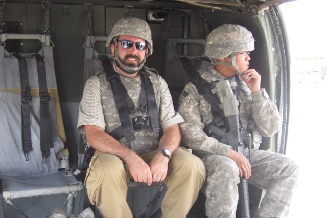 Rob Monto, left, now head of RCO's Emerging Technologies Office, in Afghanistan in May 2011 when he was with PM Battle Command (now PM Mission Command). He was there fielding kit and piloting enhanced capabilities.