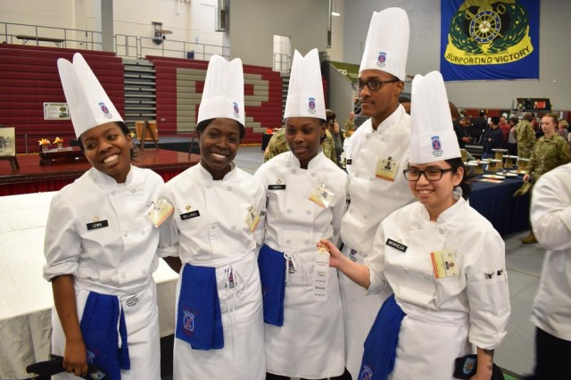 The student chefs on the Fort Drum Culinary Arts Team gather for a photograph after earning bronze medals in the Student Skills category at the 43rd Joint Culinary Training Exercise at Fort Lee, Va. (Fort Drum Culinary Arts Team photo)