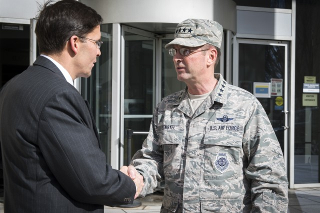 Secretary of the Army Dr. Mark T. Esper meets with Chief of the National Guard Bureau Gen. Joe Lengyel at the National Guard Senior Leader Forum in Arlington Va., February 21, 2018.