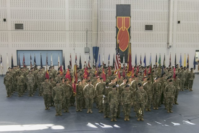 Soldiers of the 52nd Ordnance Group (Explosive Ordnance Disposal), 20th Chemical, Biological, Radiological, Nuclear and high-yield Explosive Command, stand ready before a change of command ceremony in Sabo Physical Fitness Center on Fort Campbell, Ky., Mar. 14, 2018. This ceremony allowed the group to honor its outgoing commander, Col. Mark R. Faria, and welcome its new commander, Col. Daniel J. Duncan. (U.S. Army photo by Staff Sgt. Adam Hinman, 52nd Ordnance Group (Explosive Ordnance Disposal), 20th Chemical, Biological, Radiological, Nuclear and high-yield Explosives Command, Public Affairs)