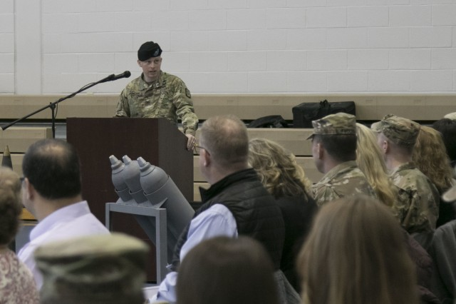 Col. Daniel J. Duncan, new commander of the 52nd Ordnance Group (EOD), 20th Chemical, Biological, Radiological, Nuclear and high-yield Explosive Command, speaks to the Soldiers, friends and families of the unit during a change of command ceremony in Sabo Physical Fitness Center on Fort Campbell, Ky., Mar. 14, 2018. Duncan spoke about the excellent reputation of the unit and his pride in being the new commander.