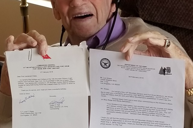 Louis Weiss served as an officer in the newly formed 10th Mountain Division and deployed to Italy with the 10th Mountain Medical Battalion during World War II. Celebrating his 100th birthday on March 22, Weiss received a birthday message from Maj. Gen. Walter E. Piatt, 10th Mountain Division (LI) and Fort Drum commander, and Sepp Scanlin, 10th Mountain Division and Fort Drum Museum director.