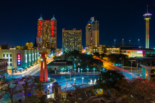 """""""Downtown San Antonio"""", shot by Staff Sgt. Anton Rhem, earned second place for Active Duty Military division in the Nature and Landscape Category of the 2017 Army Digital Photography Contest. The Family and Morale Welfare and Recreation division of the U.S. Army Installation Management Command hosted the annual competition. The long exposure captures the twinkling lights and beauty of the city's heart of downtown."""