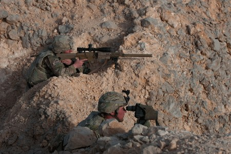 Snipers with the 2nd Armored Brigade Combat Team, 1st Armored Division, search for a simulated enemy high-value target, Jan. 29. 2018, during Inferno Creek 2018 near Thumrait, Oman. Inferno Creek 2018 is an annual Omani-U.S. exercise focused on building bilateral ties between the two militaries.