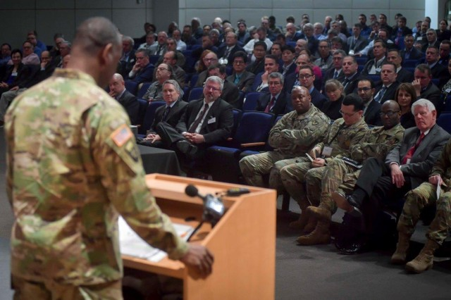 Maj. Gen. Cedric T. Wins, commanding general of the U.S. Army Research, Development and Engineering Command, gives the keynote address to more than 600 attendees of the 2018 Program Formulation Meeting March 20 at the Mallette Training Facility at Aberdeen Proving Ground, Maryland.