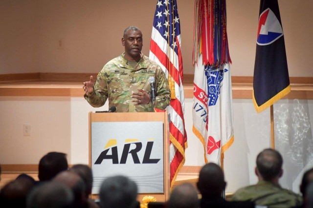 Maj. Gen. Cedric T. Wins tells stakeholders that Army science and technology can bring things from discovery to actual technical capability for the armed forces.