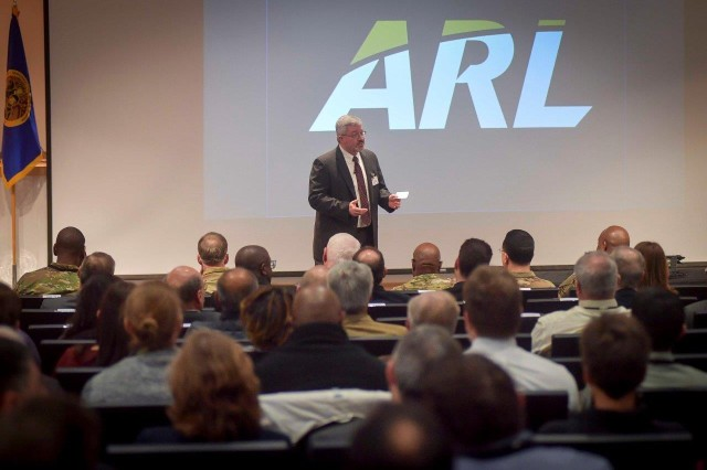 Army Research Laboratory Director of Plans and Programs Todd Rosenberger welcomes attendees to the 2018 Program Formulation Meeting March 20 at the Mallette Training Facility at Aberdeen Proving Ground, Maryland.