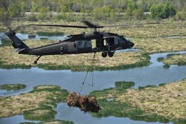 Louisiana National Guardsmen from the 1st Battalion, 244th Assault Helicopter Regiment drop Christmas trees into Bayou Sauvage in New Orleans to help combat coastal erosion, March 14, 2018.