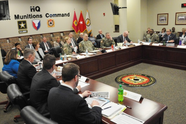 JMC senior leaders update Gen. Gus Perna, commander, Army Materiel Command, concerning ongoing munitions initiatives during a visit to the Rock Island Arsenal, March 21.