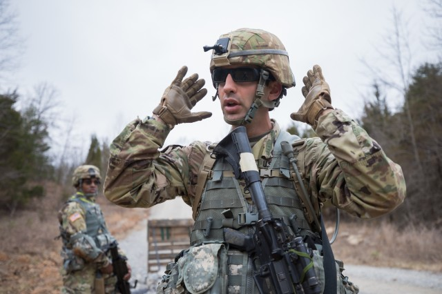 U.S. Army Reserve Staff Sgt. Austin Berner, a platoon sergeant with the 982nd Combat Camera Company (Airborne), instructs Soldiers how to use camouflage during the Combat Support Training Exercise (CSTX) 78-18-03 at Fort Knox, Kentucky, March 17, 2018. CSTX 78-18-03 is a training exercise that ensures America's Army Reserve units and Soldiers are trained and ready to deploy on short-notice and bring capable, combat-ready and lethal firepower in support of the Army and our joint partners anywhere in the world.