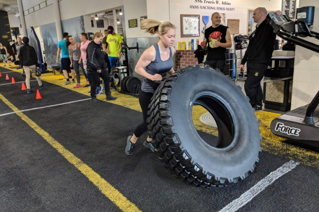 """Soldiers, Family Members and Department of the Army Civilians can compete in Fort Drum's version of the CrossFit Games when Better Opportunities for Single Soldiers members team up with the Atkins Functional Fitness Facility staff for """"BOSS Invades Atkins."""" The competitive workouts focus on the different tenets of functional fitness: speed, strength and agility."""