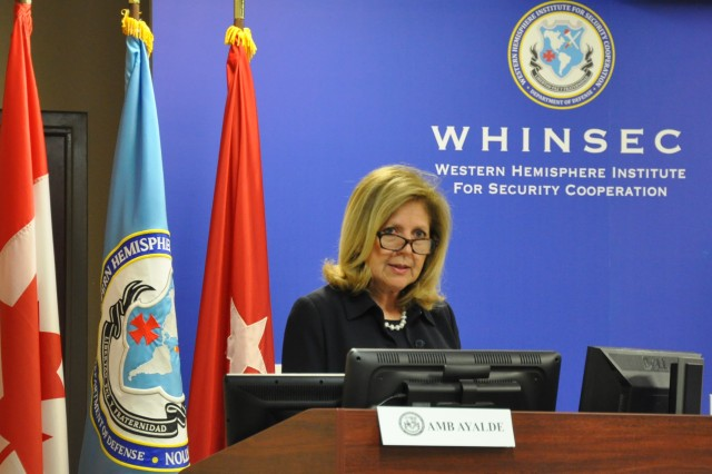 FORT BENNING, Ga. (March 23, 2018) -- Ambassador Liliana Ayalde, civilian deputy commander and policy adviser to U.S. Southern Command, brought her experience in the Americas to bear in the Women, Peace and Security Discussion Panel at WHINSEC March 12 at Fort Benning, Georgia. (U.S. Army photo by Lee Rials, WHINSEC Public Affairs)