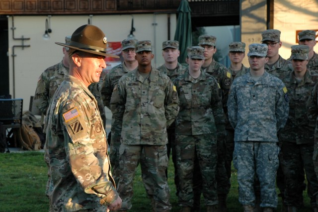 PRESIDIO OF MONTEREY, California -- Sgt. 1st Class Guy Smith gives Company C, 229th Military Intelligence Battalion, its last instructions at morning formation.