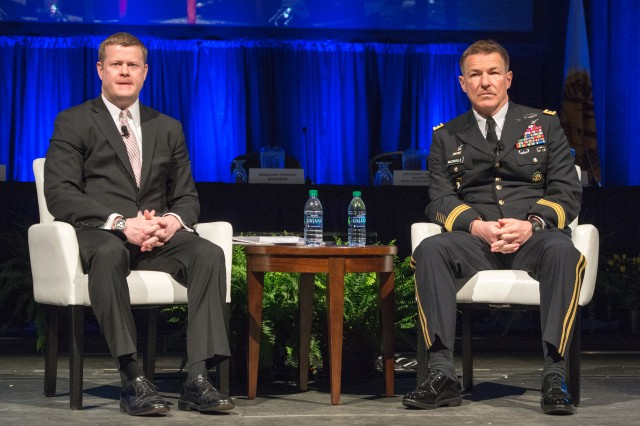 Army Under Secretary Ryan D. McCarthy and Vice Chief of Staff Gen. James C. McConville outlined some of their key priorities for Army Futures Command and its potential impact to the force during the opening ceremony at the 2018 Association of the U.S. Army Global Force Symposium and Exhibition, March 26, 2018.