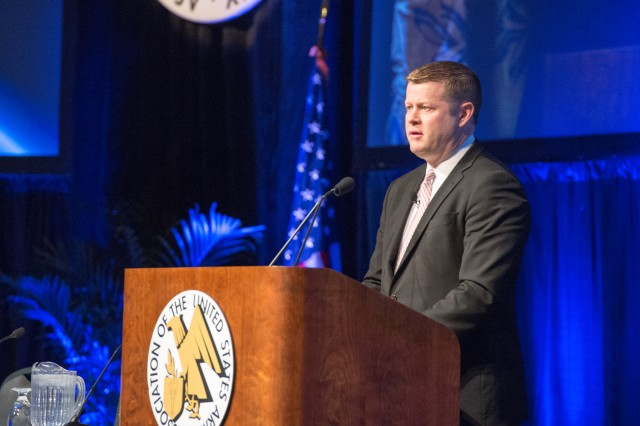 Army Under Secretary Ryan D. McCarthy outlined some of the Army's key priorities for Army Futures Command and its potential impact to the force during the opening ceremony at the 2018 Association of the U.S. Army Global Force Symposium and Exhibition, March 26, 2018.
