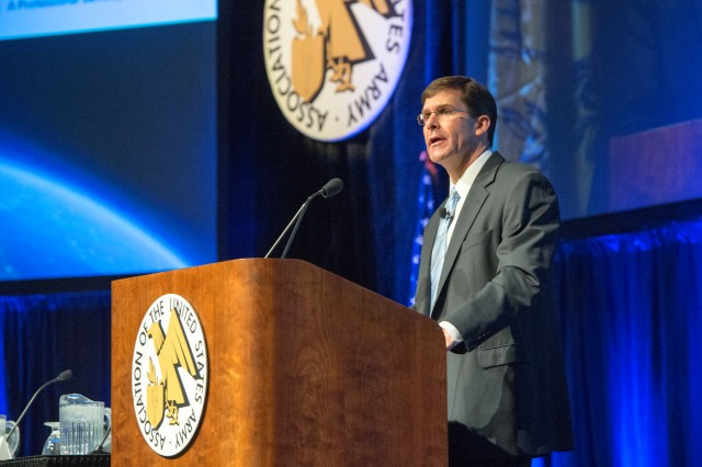 Army Secretary Dr. Mark T. Esper outlined some of Army's key priorities for Futures Command and its potential impact to the force during the opening ceremony at the 2018 Association of the U.S. Army Global Force Symposium and Exhibition, March 26, 2018.