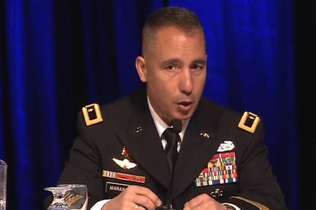 Brig. Gen. Stephen Maranian, team lead for the Long Range Precision Fires Cross-Functional Team, answers questions during a panel discussion at the Association of the Army's Global Force Symposium March 26, 2018.
