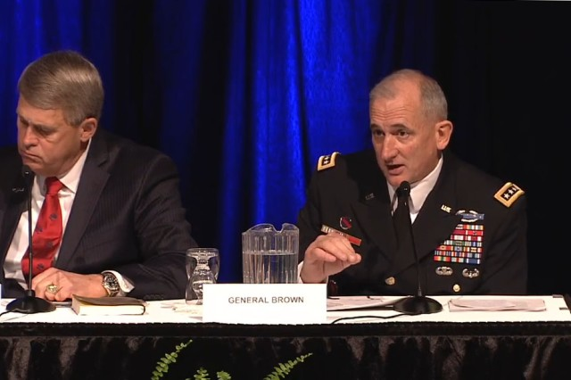 Gen. Robert Brown, U.S. Army Pacific commander, discusses the importance of the Army's modernization priorities at the Association of the Army's Global Force Symposium in Huntsville, Alabama, March 26, 2018.