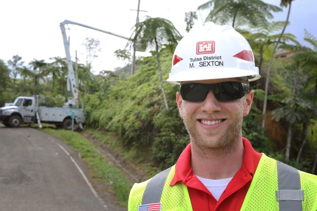 Park Ranger Matt Sexton, U.S. Army Corps of Engineers, Tulsa District, works in Jayuya, Puerto Rico, as a Quality Assurance Specialist for Task Force Power Restoration March 24, 2018.  Sexton, like hundreds of other USACE employees, volunteered to leave his home duty station to work a temporary duty assignment restoring power for the citizens of Puerto Rico.  The power grid in Puerto Rico has 2,400 miles of transmission lines across the island and 30,000 miles of distribution lines with 300 sub-stations. It is estimated that 80 percent of the grid was damaged when Hurricane Maria struck the island on Sept. 20, 2017. (Released/U.S. Army Corps of Engineers photo by: Preston L. Chasteen)